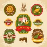 Uitstekende landbouwbedrijfetiketten Stock Afbeelding