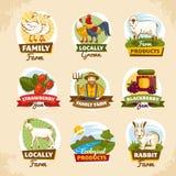 Uitstekende landbouwbedrijfetiketten Stock Afbeeldingen