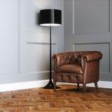 Uitstekende leerleunstoel en staande lamp in klassiek binnenland stock illustratie