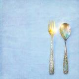 Uitstekende lepel en vork Royalty-vrije Stock Afbeelding