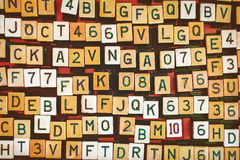 Uitstekende letter en getal juke-boxknopen royalty-vrije stock afbeelding