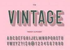 Uitstekende lettersoort Retro moderne alfabet in typografie royalty-vrije illustratie