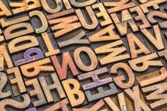 Uitstekende Letterzetsel houten type drukblokken Royalty-vrije Stock Foto