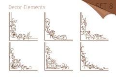Uitstekende lijn bloemenhoeken Stock Foto