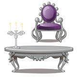 Uitstekende lijst met kaars en stoel die op een witte achtergrond wordt geïsoleerd Vector illustratie royalty-vrije illustratie