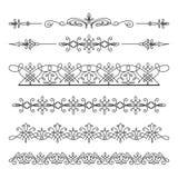 Uitstekende lineaire grensornamenten op wit Royalty-vrije Stock Afbeelding