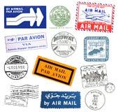 Uitstekende luchtpostetiketten en zegels Royalty-vrije Stock Afbeeldingen