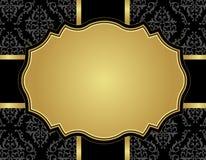 Uitstekende luxekaart met damast naadloos patroon Stock Afbeelding