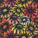Uitstekende madeliefje en zonnebloembloemdruk Stock Foto