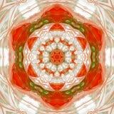 Uitstekende mandala van de ornament oranjerode tegel, de kleur van de de herfstesdoorn met witte stralen vector illustratie