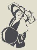 Uitstekende manier retro dame met mof stock illustratie