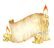 Uitstekende Manuscriptenrol, Brandende Kaarsen De illustratie van de waterverf Stock Afbeeldingen