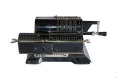 Uitstekende mechanische calculator op een witte achtergrond stock foto's