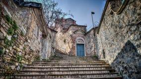 Uitstekende mening van Traditionele steenstraat en huizen bij Fener-District royalty-vrije stock foto's