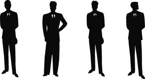 Uitstekende mensen in kostuumssilhouet Royalty-vrije Stock Foto's