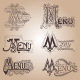 Uitstekende menu oude kalligrafisch Royalty-vrije Stock Afbeelding