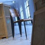Uitstekende meubilair en kratten in zolder Royalty-vrije Stock Foto