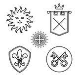 Uitstekende middeleeuwse symbolen Stock Foto