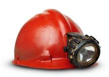 Uitstekende mijnwerkershelm met lamp royalty-vrije stock afbeeldingen