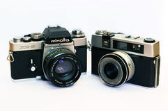Uitstekende Minolta xe-5 en Taron-camera Royalty-vrije Stock Foto's