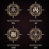 Uitstekende Monogrammen - 4 reeksen Royalty-vrije Stock Foto
