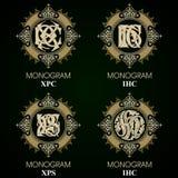 Uitstekende Monogrammen - 4 reeksen Royalty-vrije Stock Foto's