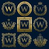 Uitstekende monogrammenreeks van w-brief Gouden heraldische emblemen in kronen, ronde en vierkante kaders royalty-vrije illustratie