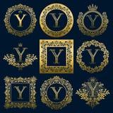Uitstekende monogrammenreeks van y-brief Gouden heraldische emblemen in kronen, ronde en vierkante kaders royalty-vrije illustratie