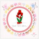 Uitstekende mooie roze tulpenkaart of achtergrond Royalty-vrije Stock Foto's