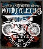 Uitstekende motorfiets Hand getrokken grunge uitstekende illustratie met Royalty-vrije Stock Fotografie