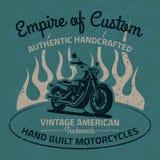 Uitstekende motorfiets voor druk met grungetextuur Oude School Royalty-vrije Stock Afbeelding