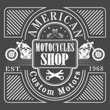 Uitstekende motorfietsetiketten stock afbeeldingen