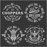 Uitstekende motorfietsetiketten, kentekens en ontwerp Royalty-vrije Stock Afbeelding