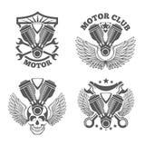 Uitstekende motorfietsetiketten, kentekens motor Royalty-vrije Stock Afbeeldingen