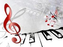 Uitstekende muziekachtergrond - grunge piano en nota's Stock Fotografie