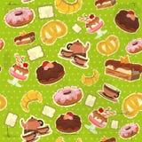 Uitstekende naadloze achtergrond met dessert Stock Afbeeldingen
