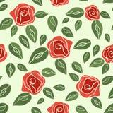 Uitstekende naadloze rode patroonrozen (met groen) EPS, JPG Royalty-vrije Stock Fotografie