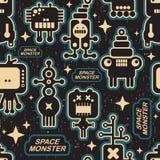 Uitstekende naadloze textuur met monsters. vector illustratie