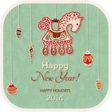 Uitstekende Nieuwjaarskaart - decoratiepaard Royalty-vrije Stock Afbeeldingen