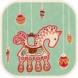 Uitstekende Nieuwjaarskaart - decoratiepaard Stock Afbeeldingen
