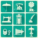 Uitstekende Objecten Pictogrammen Royalty-vrije Stock Foto