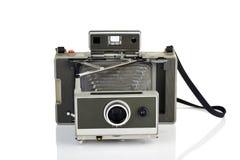 Uitstekende onmiddellijke camera op wit Stock Foto