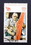 Uitstekende Oostduitse postzegel Stock Afbeeldingen