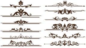Uitstekende ornamentenhoeken, grenzenontwerp Stock Afbeelding