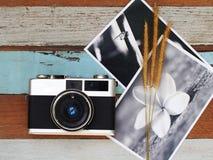 Uitstekende oude camera met bloem op oude houten Royalty-vrije Stock Foto's