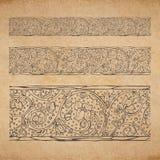 Uitstekende oude document textuurachtergrond met bloemen sier naadloze grens Royalty-vrije Stock Afbeeldingen