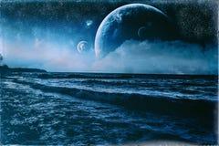 Uitstekende Oude Foto van de fantasie de Golvende Blauwe Oever Stock Fotografie