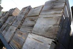 Uitstekende oude houten die appelkratten op vrachtwagen worden overgeheld Stock Afbeeldingen