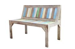 Uitstekende Oude houten die stoel op witte achtergrond wordt geïsoleerd Stock Afbeeldingen
