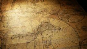 Uitstekende oude kaart stock videobeelden